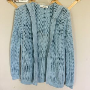 Baby blue hooded cardigan spring sweater